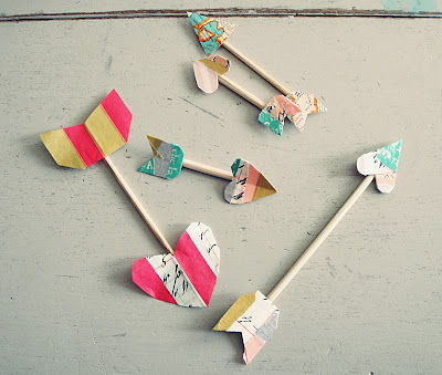 arrows made of wooden skewers and washi tape