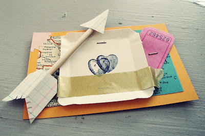 handmade valentine card with handmade arrow