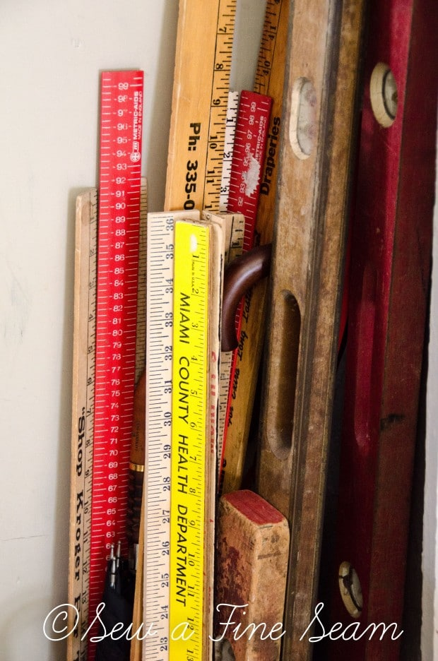Vintage Yard stick used to make a DIY ribbon organizer