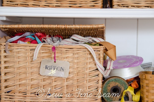 Basket filled with ribbon