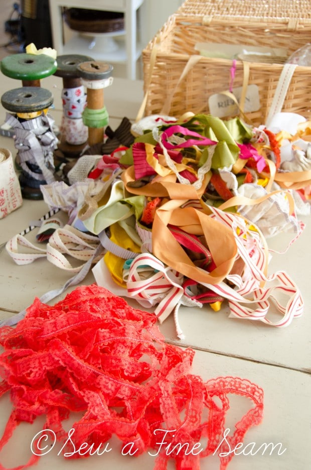 mess of ribbon before it was organized on a DIY ribbon organizer