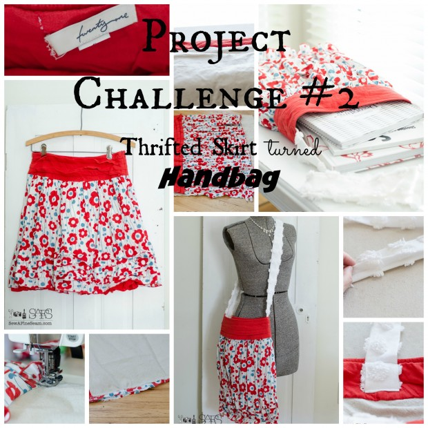 project challenge 2 thrifted skirt turned handbag