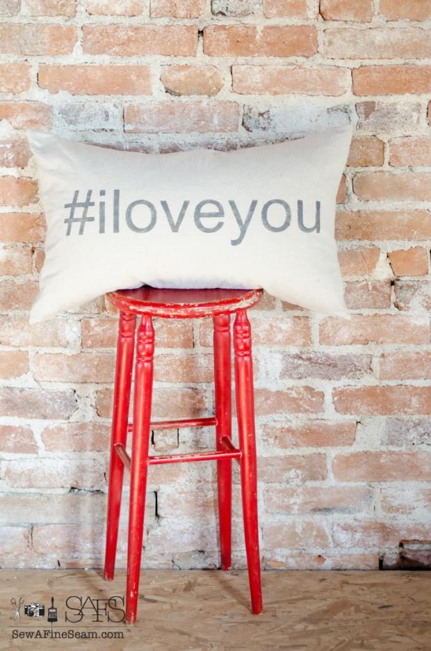 sew a fine seam pillow hashtag i love you