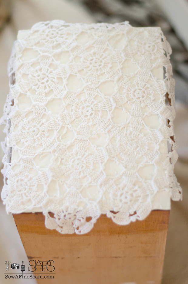 using lace to make an embossed look on a vintage desk