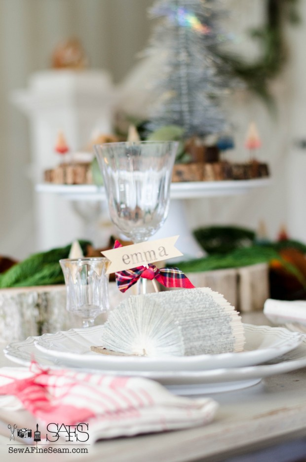 tablescape for Christmas using place card holders made from old books