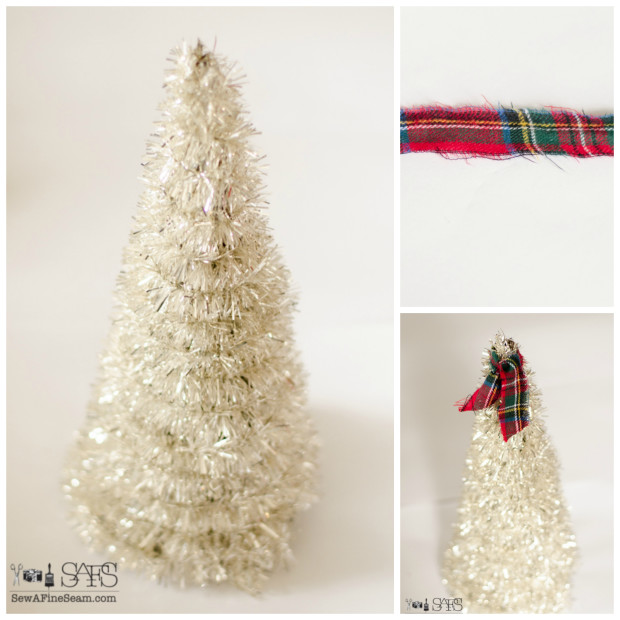 tinsel trees created from old funnels and tinsel