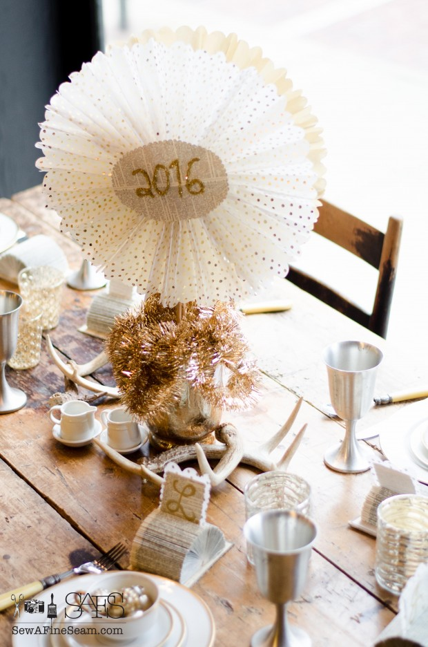Tissue Paper Medallions and place cards for a New Years tablescape