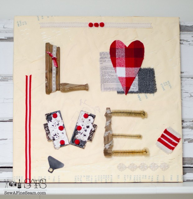 Valentine Wall Art made out of junk pieces, old spindles, hinges, test tube brushes and fabric