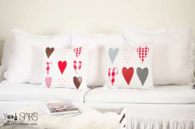 handmade heart pillows for valentines