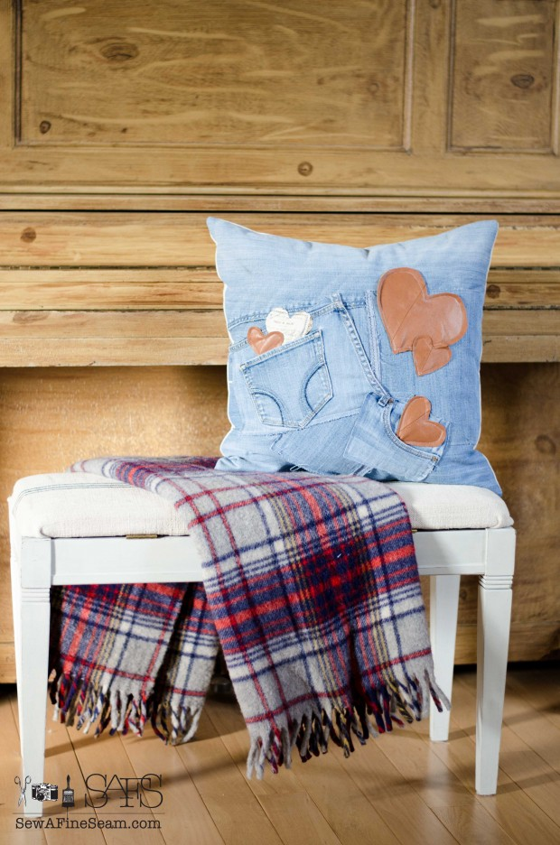 Valentine's pillow made of old jeans with genuine leather heart details