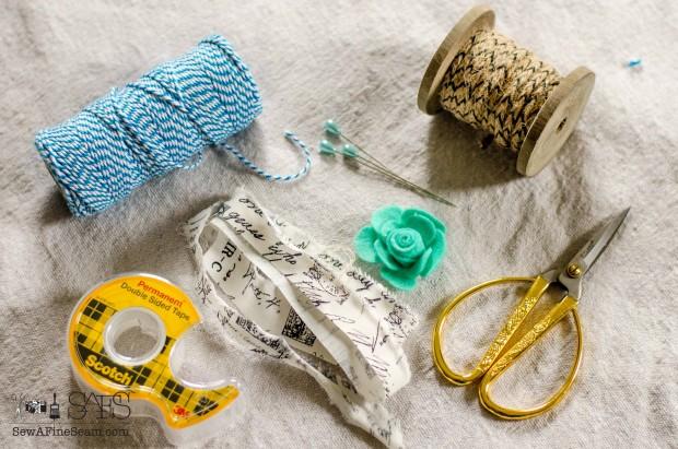 Easter Egg decor elements - fabric ribbon, bakers twine, burlap ribbon, felt flowers, double sided tape