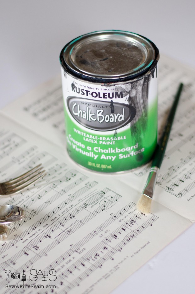 chalkboard paint and music sheet name cards