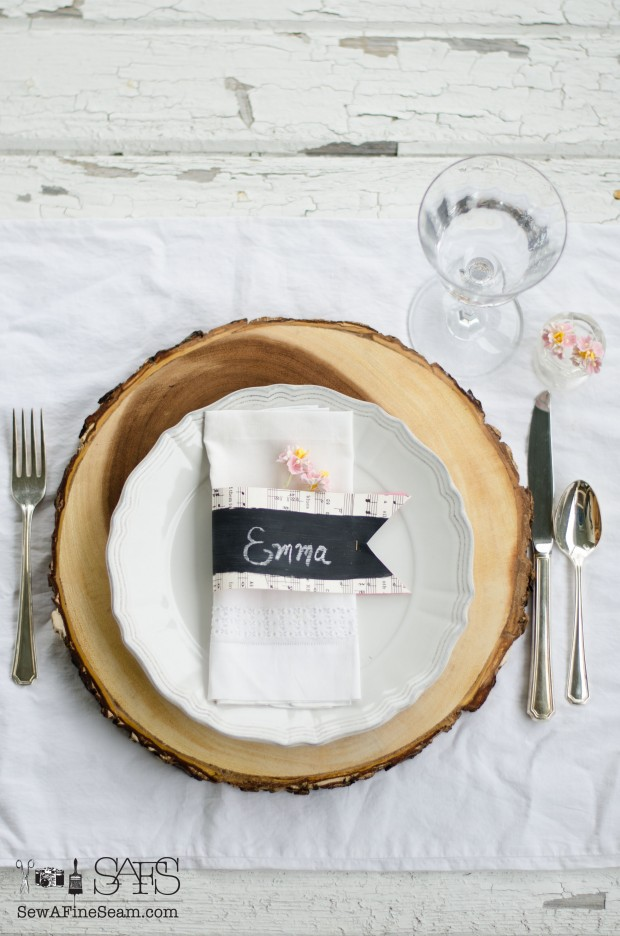 chalkboard paint and sheet music make simple but elegant name cards