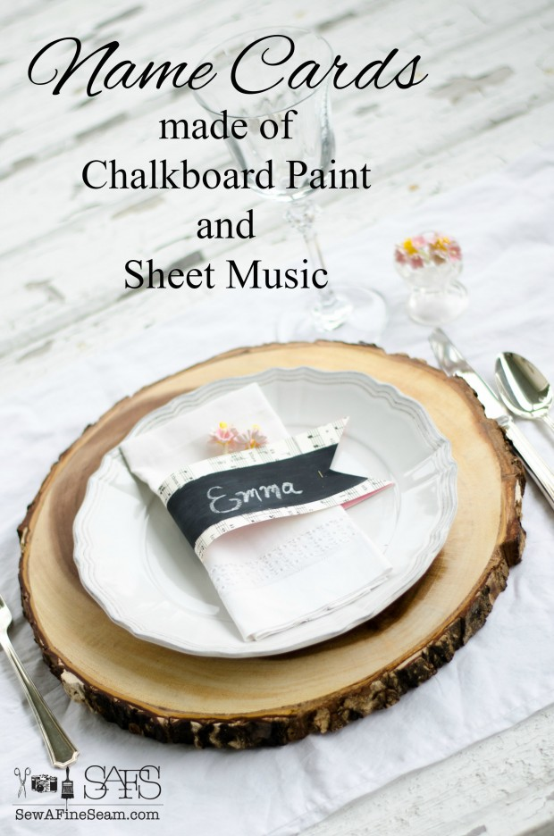 chalkboard paint and sheet music name cards a tutorial