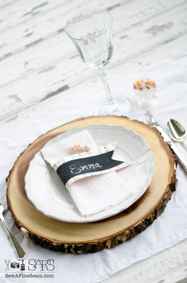 chalkboard paint and sheet music name cards for an elegant table setting