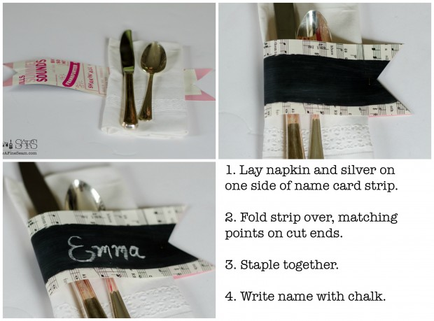 chalkboard paint and sheet music name cards howto