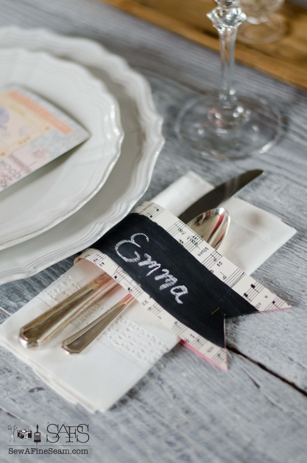 chalkboard paint and sheet music place name cards