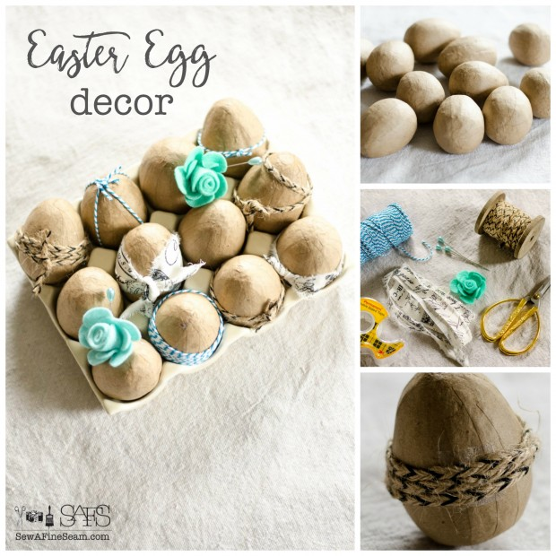 easter egg decor made from paper mache eggs that have been detailed with felt flowers and ribbon