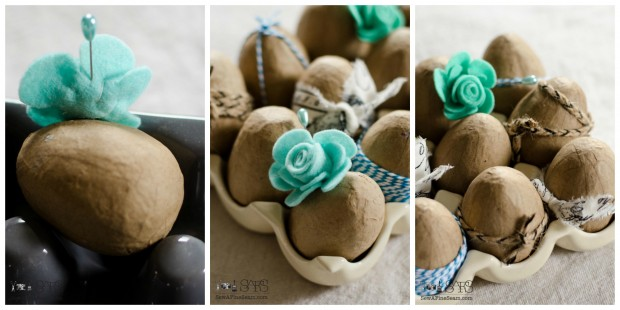 easter egg decor -attaching a felt flower using a corsage pin