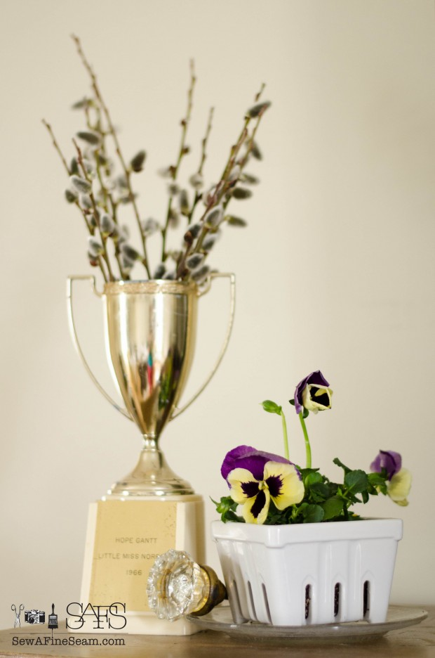 spring farmhouse decor trophy cup pansies and pussy willow
