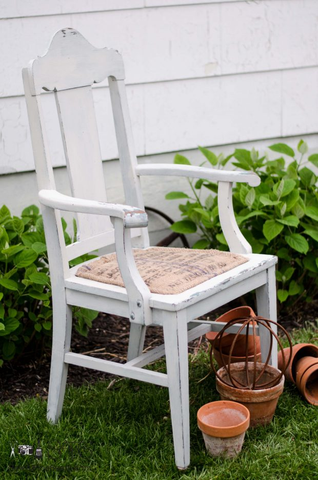 Burlap chair seat makeover milk painted chair