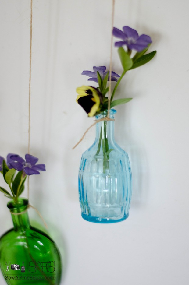 Flower Vases from Tiny Bottles in blue green and yellow
