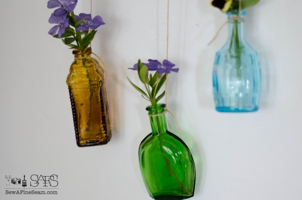 Flower Vases from Tiny Colored Bottles