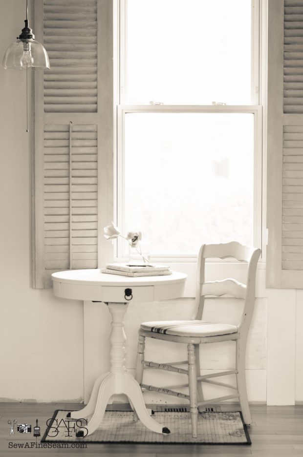 Morning Table with elegant french script european in white and grey