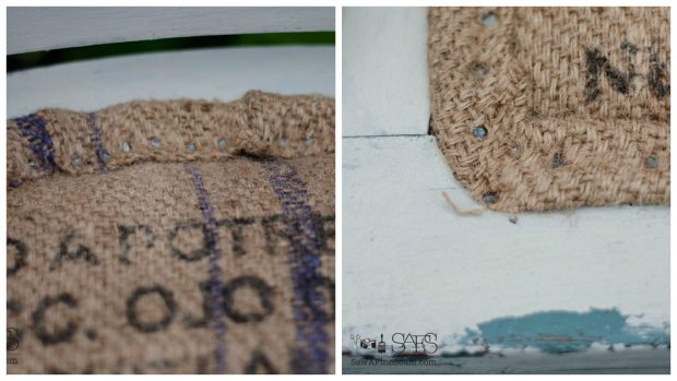 burlap chair seat makeover upholstery nails
