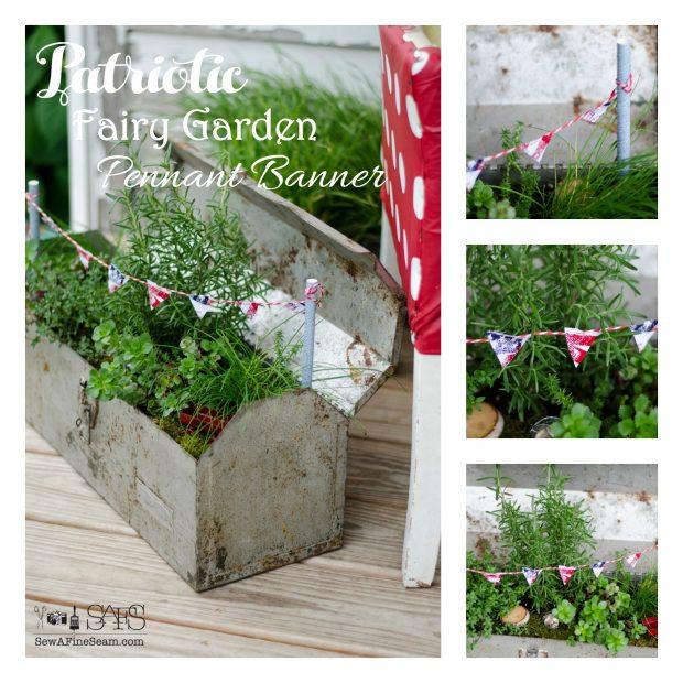 patriotic fairy garden pennant banner
