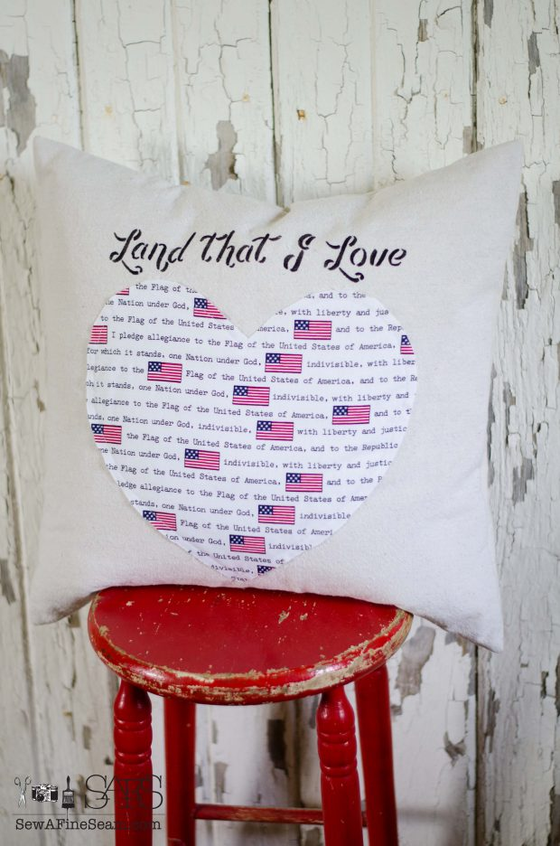 patriotic pillows heart flag fabric land that i love