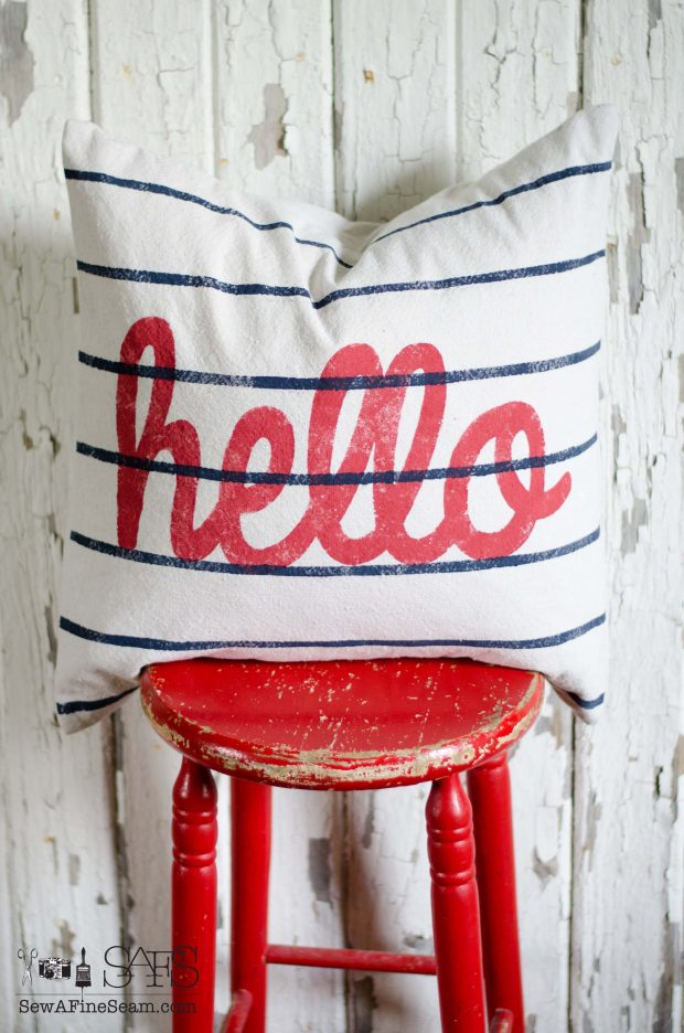 pillow hello red white and blue