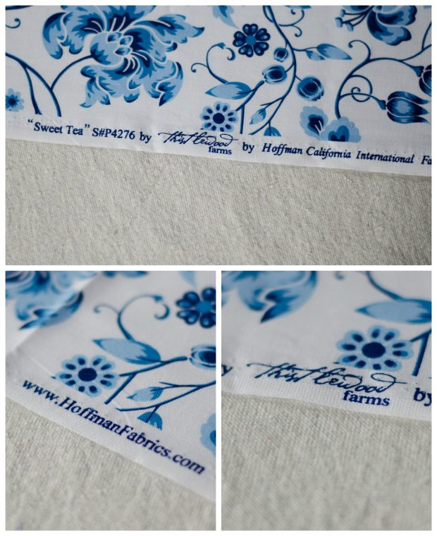 sweet tea fabric by thistlewood blue and white stripes and print