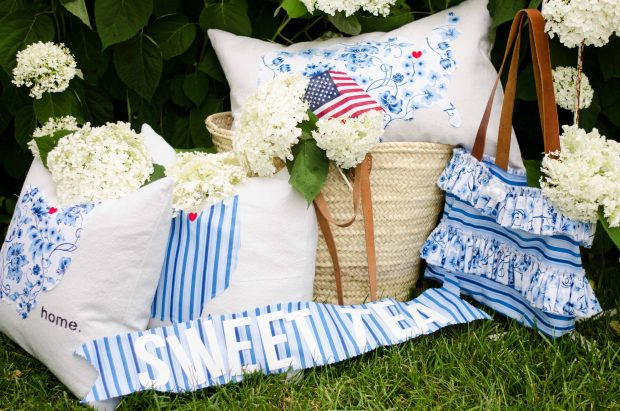sweet tea fabric by thistlewood farms US pillow ohio pillows and ruffled handbag