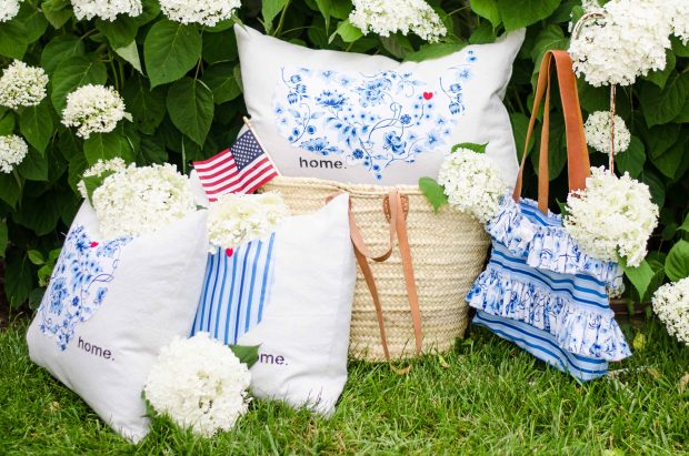 sweet tea fabric by thistlewood farms pillows handbag and US flag