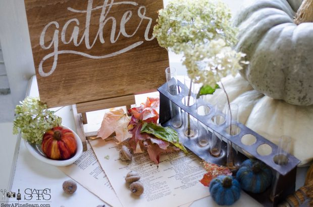 thanksgiving-vignette-old-papers-and-faux-pumpkins