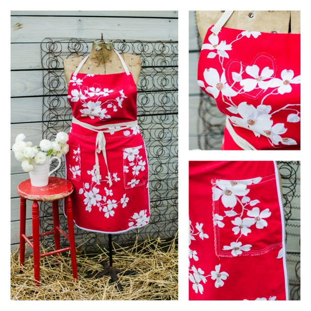 red-white-dogwood-dottrim-vintage-tablecloth-apron