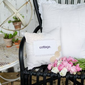 Word Art Pillows with Vintage Details