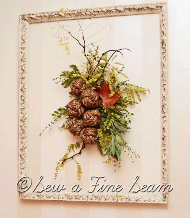 sticks leaves herbs and rope knots create a fall display