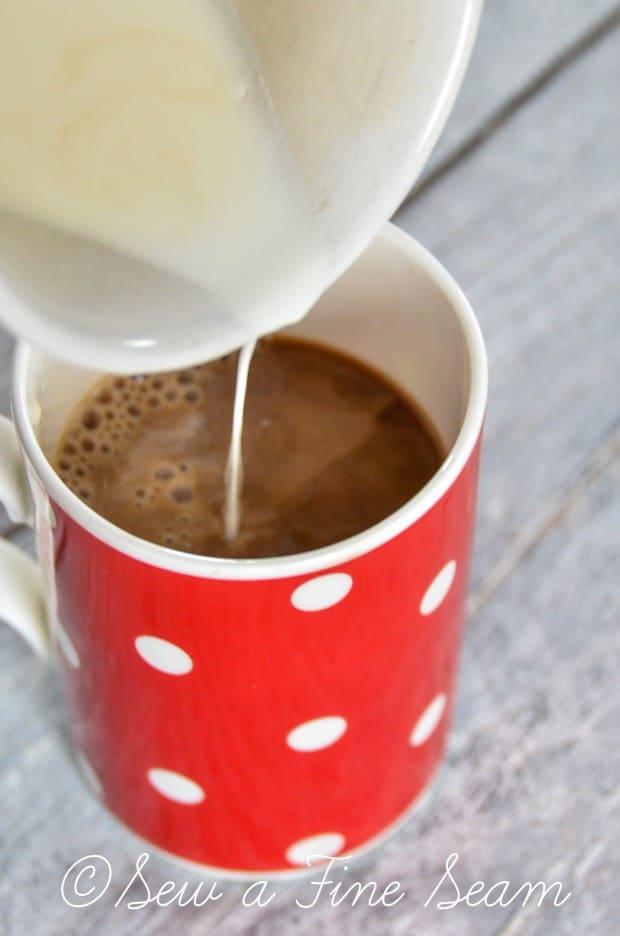 black coffee - becomes a homemade latte
