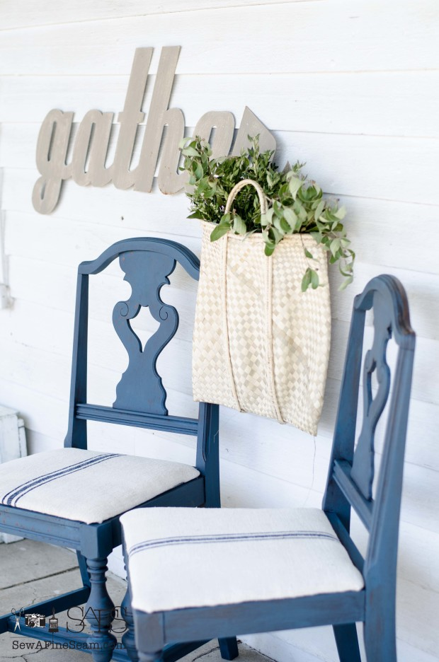 milk paint and grain sack dining room chair makeover DIY with milk paint and glaze and grain sack