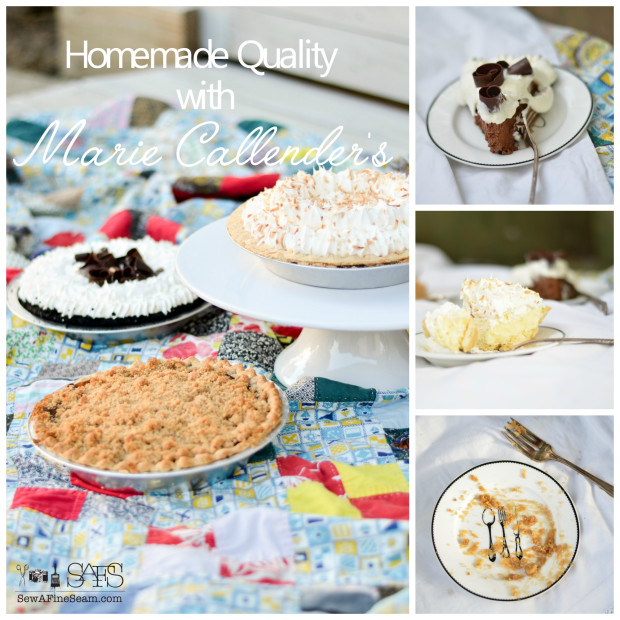 Homemade quality in Dutch apple coconut cream and chocolate silk pie from marie callenders
