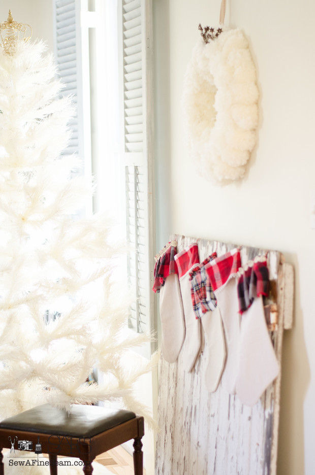 how to turn an old barn door into a 'mantel' for christmas