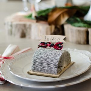 Place Card Holders Made Out of Old Books