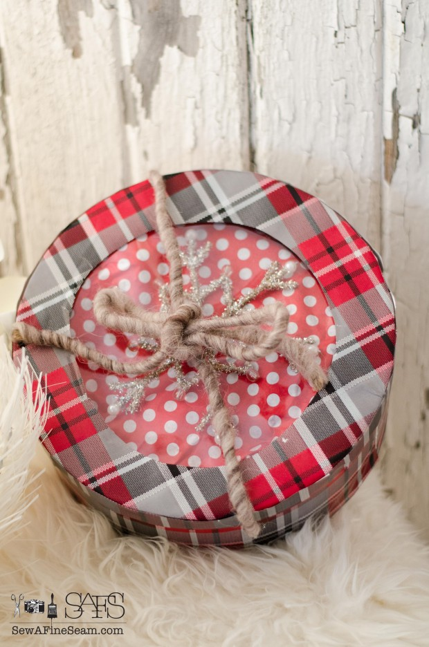 box repurposed into a a plaid gift box