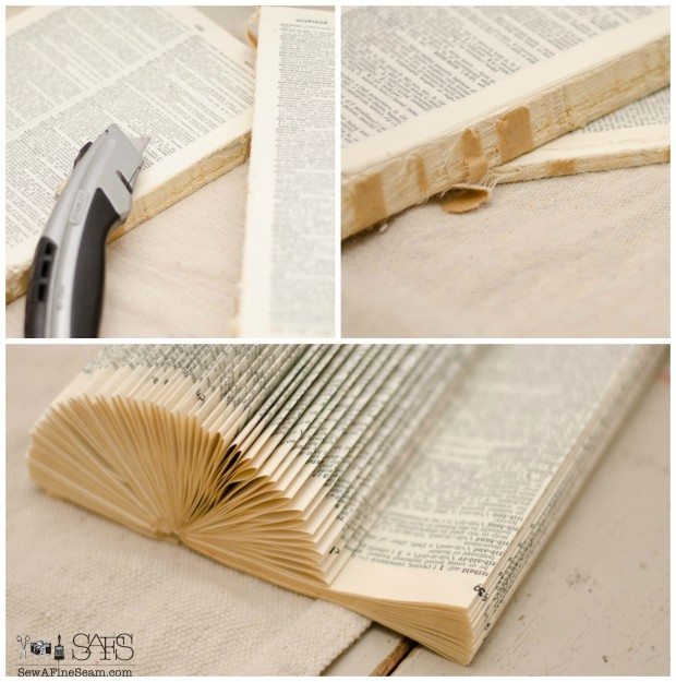 book page place card holder from a vintage book
