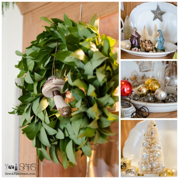 Christmas details on the china hutch