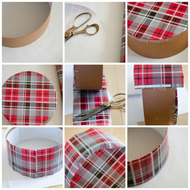 Upcycled gift box covered with plaid wrapping paper tutorial