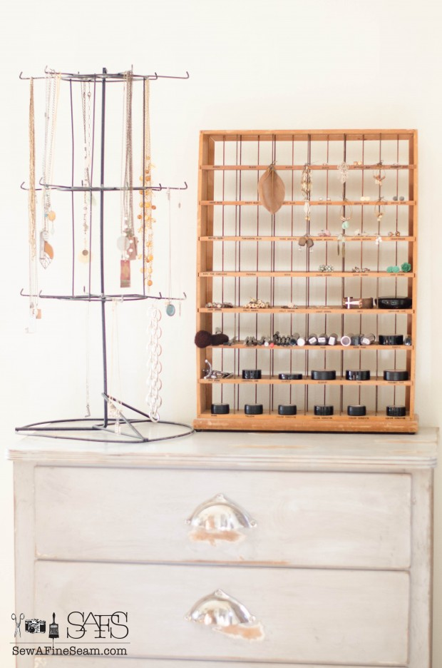 Makeup and jewelry organization using a vintage RIT dye rack