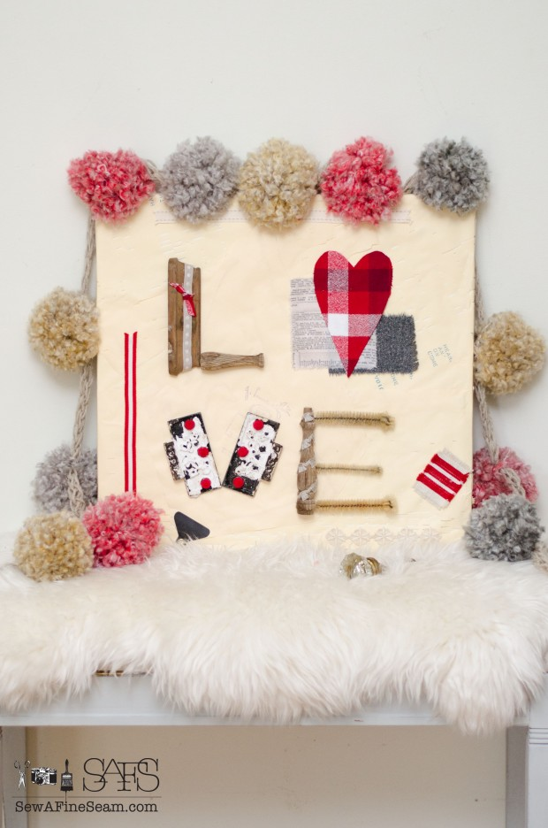 Pom poms and Valentine Wall Art made out of junk pieces, old spindles, hinges, test tube brushes and fabric